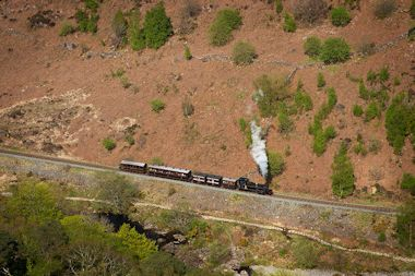 Locomotive on Aberglaslyn Pass south of Beddgelert